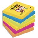 POST-IT Lot de 12 blocs Super Sticky Rio 90 feuilles 47,6x47,6mm - Coloris assortis rose, orange, jaune