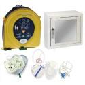 HEARTSINE Pack Complet Défibrilateur Samaritan PAD350P semi automatique +Armoire rangement +Kit sauveteur