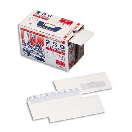 Enveloppe blanche LA COURONNE Boite 250 autoadhésives 90g format 110x220 DL fenêtre 35x100