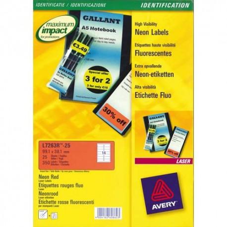 Etiquette AVERY L7263R - Boite de 350 Etiquettes laser rectangulaire enlevables 99.1x38.1mm coloris rouge fluo L7263R-25
