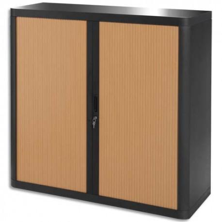 PAPERFLOW EasyOffice armoire démontable corps en PS teinté Noir Hêtre - Dimensions L110xH104xP41,5 cm