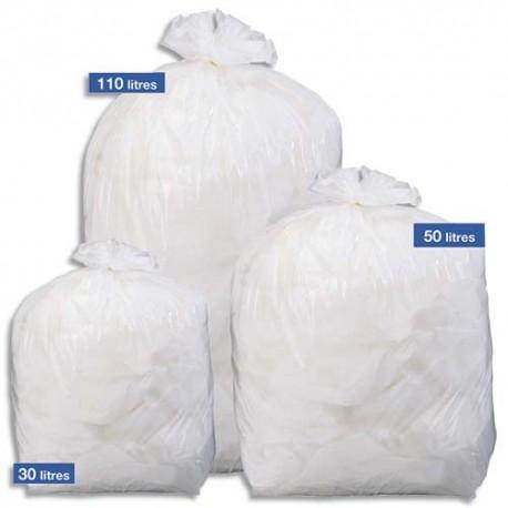SACS POUBELLES Boîte de 500 Sacs-poubelles blancs top qualité NF 30 litres 20 microns
