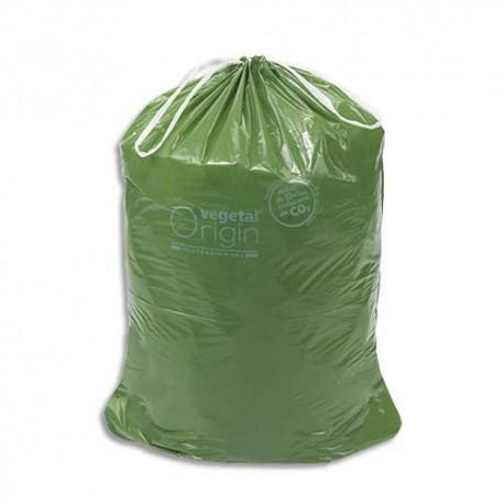 VEGETAL Boîte de 100 Sacs-poubelle à liens coulissants vert Vegetal Origin 100 litres 32 microns