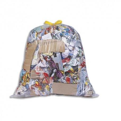 SACS POUBELLES Boîte de 100 Sacs-poubelles à liens coulissants transparents 100 litres 25 microns