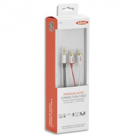 EDNET Câble Audio stéréo 3.5mm -2x RCA, M/M, 2.5m, blindé, UL, noir argenté, contacts dorés  84542