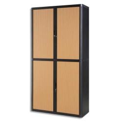 PAPERFLOW EasyOffice armoire démontable corps en PS teinté Noir Hêtre - Dimensions L110xH204xP41,5 cm