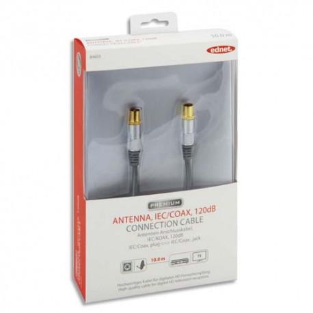 EDNET Câble de connexion Antenne IEC/Coax, M/F, 10.0m,  120dB, noir argenté, contacts dorés 84603