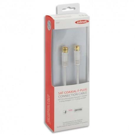 EDNET Câble de raccordement  SAT connecteur F, M/M, 5.0m, 120dB, UL, blanc, contacts doré84667