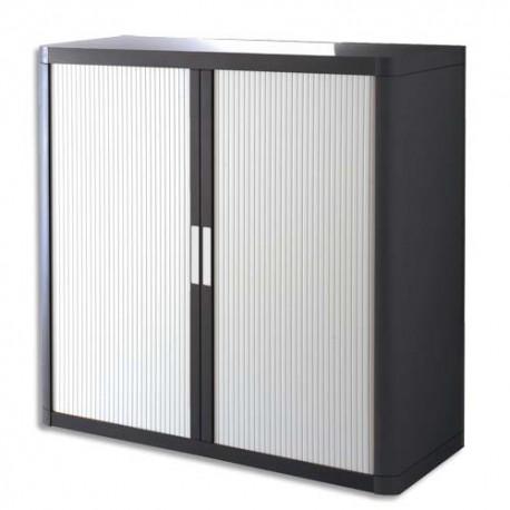 PAPERFLOW EasyOffice armoire démontable corps en PS teinté Noir Blanc - Dimensions L110xH104xP41,5 cm