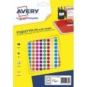 AVERY Sachet de 2940 pastilles Ø8 mm. Imprimables. Coloris assortis.