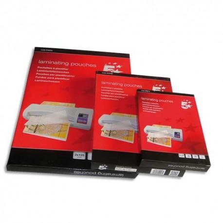 Plastification A4 - Boite de 100 pochette à plastifier dos adhésif 80 microns par face soit 160 microns Eco 5*