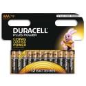 DURACELL Blister de 12 piles Alcalines 1,5V AAA LR03 ouverture D-click Plus Power Duralock