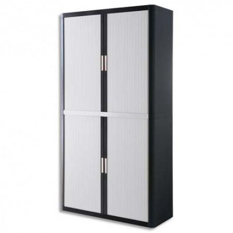 PAPERFLOW EasyOffice armoire démontable corps en PS teinté Noir Blanc - Dimensions L110xH204xP41,5 cm