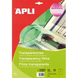 APLI Film transparents pour photocopieur/Imprimantes laser et jet d'encre B/20