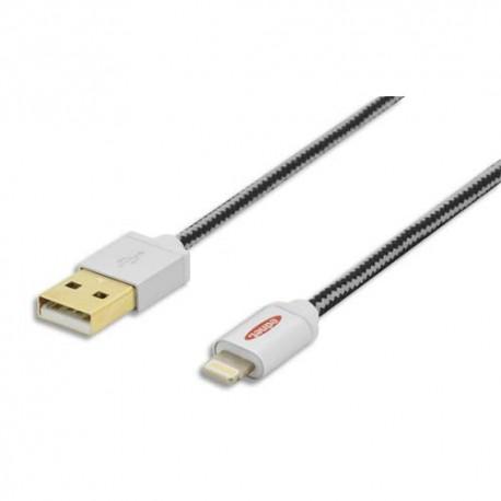 EDNET Câble USB 2.0 Apple iP5  8 broches - USB A, M/M, 1.0m, UL, MFI, noir argenté, contacts dorés  31034