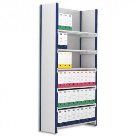PAPERFLOW Lot de 7 Dessus pour rayonnage Rang'Eco en métal - Dimensions L100 x P34 cm coloris gris