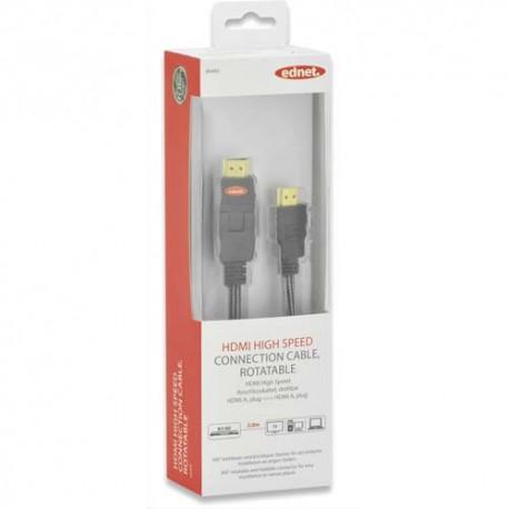 EDNET Câble HDMI A rotatif, M/M, 2m, Ethernet, Ultra-HD, UL, noir argenté, contacts dorés 84493