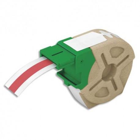 LEITZ Cartouche recyclée d'étiquettes plastique adhésif permanent 12mmx10m Rouge 70150025