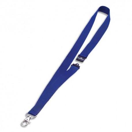 DURABLE Boite de 10 cordons 44cm textile bleu avec mousqueton