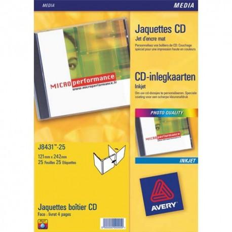 Etiquette AVERY J8431 - Pochette de 25 livrets recto pour boîtier cd blanc J8431-25
