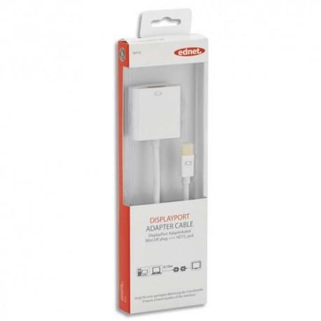 EDNET Câble adaptateur mini DisplayPort HD15, M/F, 0.15m, UL, CE, blanc, contacts dorés 84510