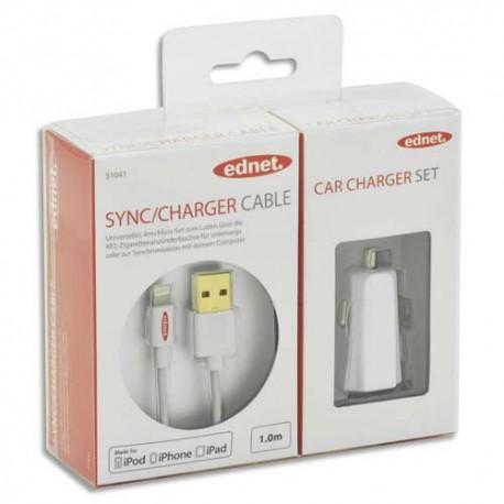 EDNET Chargeur de voiture : Allume cigare+câble USB 2.0  Apple 1m, UL, MFI, blanc, contacts dorés 31044