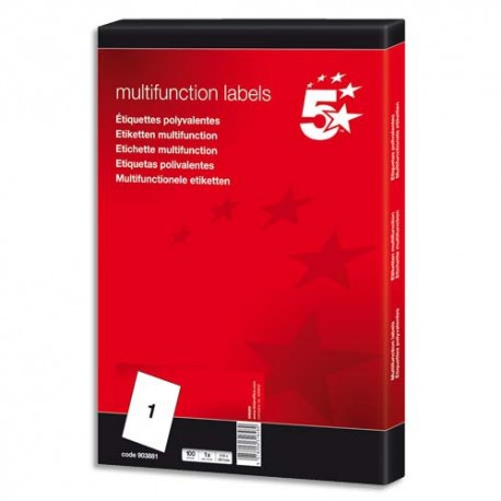 Etiquette Eco 5* - Boîte de 100 étiquettes laser, jet d'encre, copieur blanches dimensions 210x297mm