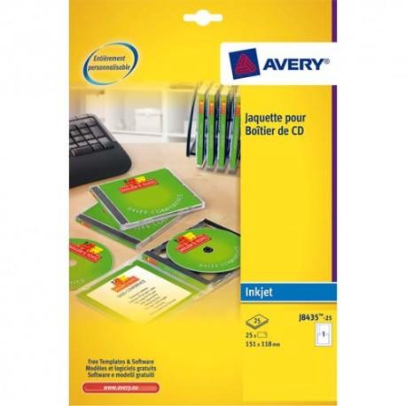 Etiquette AVERY J8435 - Pochette de 25 jaquettes pour CD spécial jet d encre couleur J8435-25