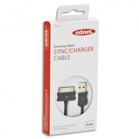 EDNET Câble USB 2.0 chargeur de données Samsung, 30 broches - USB A, M/M, 0.5m, UL, noir 31501