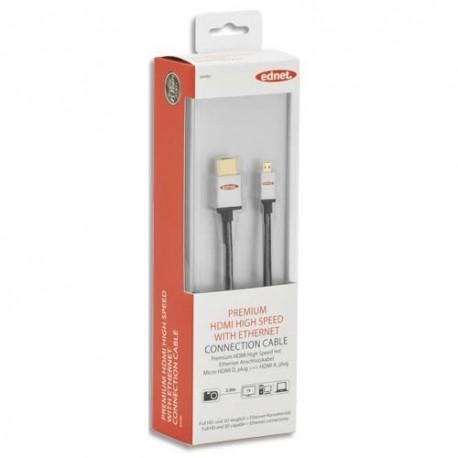 EDNET Câble HDMI haute vitesse type D - A, M/M, 2.0m, Full HD, UL, noir argenté, contacts dorés 84489