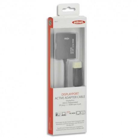EDNET Câble adaptateur DisplayPort DP HDMI A, M/F, 0.2m, 4K, UL, CE, Noir contacts dorés 84517