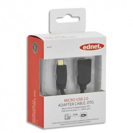 EDNET Câble USB 2.0 OTG, type micro B-A, M/F, 0.2m, UL, noir, contacts dorés 84192