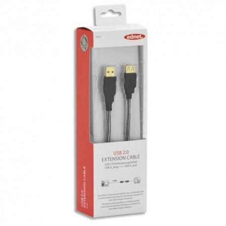 EDNET Rallonge USB 2.0  type A, M/F, 1.8m, USB 2.0 certifié, UL, noir, contacts dorés 84189