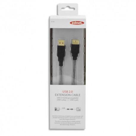 EDNET Rallonge USB 2.0  type A, M/F, 3.0m, USB 2.0 certifié, UL, noir, contacts dorés 84190