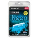 INTEGRAL Clé USB 3.0 Neon 64Go Bleue INFD64GBNEONB3.0+redevance