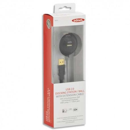 EDNET Station d'accueil USB avec rallonge type A, M/F, 1.5m, UL, noir, contacts dorés 84191
