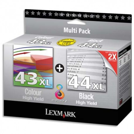 LEXMARK N°43XL/44XL - Combo pack jet d'encre de marque Lexmark N°43XL/N°44XL (80D2966)