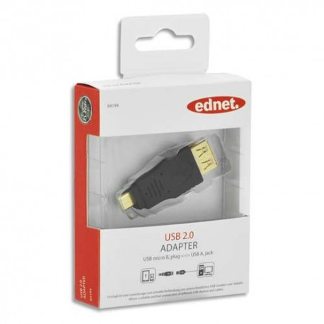 EDNET Adaptateur USB type micro B - A, M/F, USB 2.0 certifié, UL, noir, contacts dorés 84194