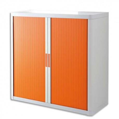 PAPERFLOW EasyOffice armoire démontable corps en PS teinté Blanc Orange - Dimensions L110xH104xP41,5 cm