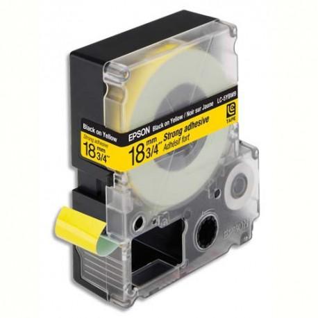 EPSON cassette LC-5YBW9 (LC5YBW9) ruban Adhésif Fort Noir sur Jaune 18mmx9m C53S626408 LW-400/900P