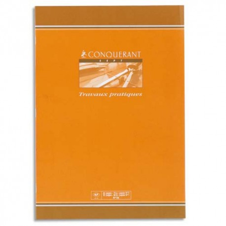 Cahier 21x29,7 (A4) 48 pages seyès 70g + 48 pages unies 120g travaux pratiques piqure