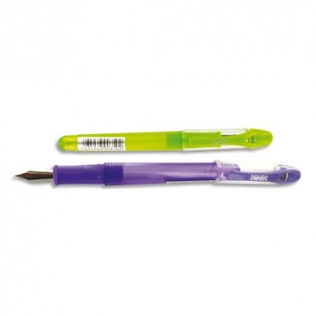 Stylo plume ULMANN Boîte de 12 stylos plume, corps plastique assortis anis ou violet, Pointe moyenne.