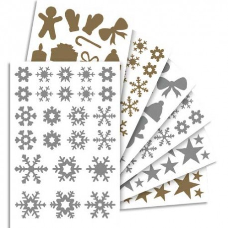 MAILDOR 855 gommettes Initial métallisées or, argent thème Noël assorties