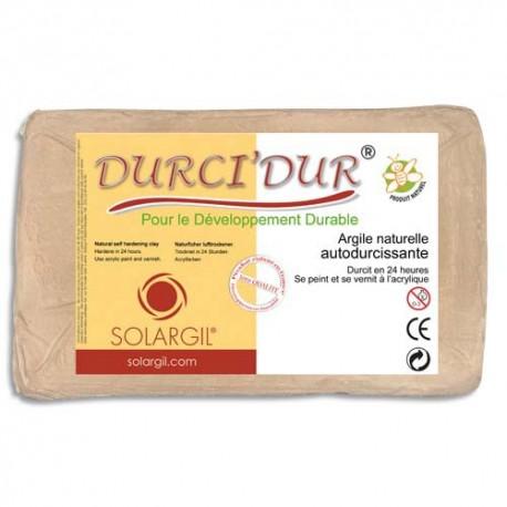 ARGIL Argile naturelle autodurcissante DURCI'DUR / Pain de 1 kg blanc