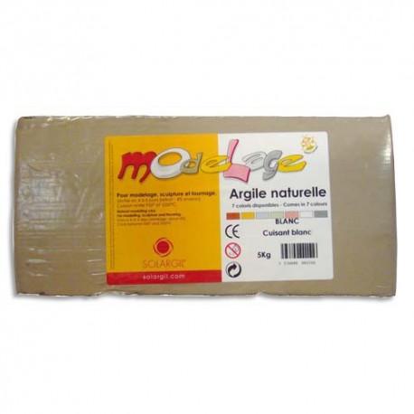 ARGIL Argile Naturelle de modelage/ Pain de 5 kg Blanc