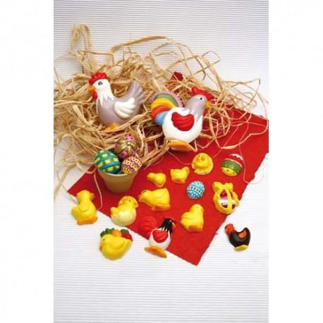 DTM Lot de 8 moules Poules poussins, et œufs à mouler en plâtre et à décorer