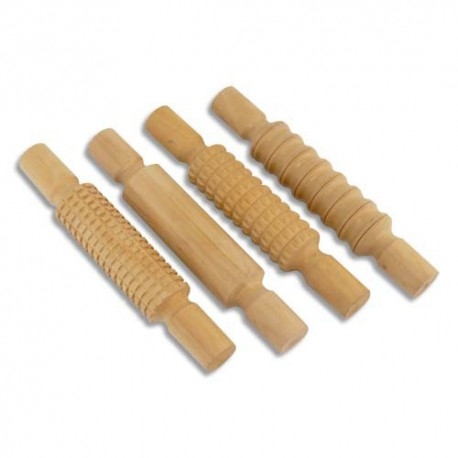 OZ INTERNATIONAL Assortiment de 4 rouleaux de 21cm en bois massifs pour modelage