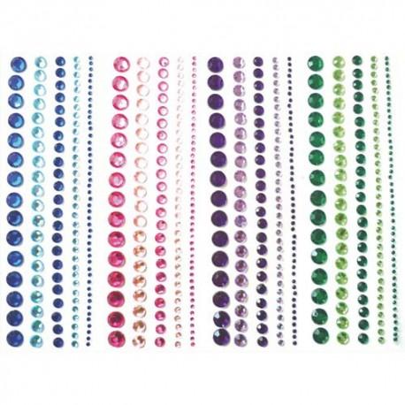 PW INTERNATIONAL Lot de 4 bandes de strass adhésifs, differents diametres, 4 coloris assortis
