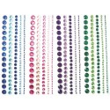 PW INTERNATIONAL Lot de 4 bandes de strass adhésifs, differents diametres, 4 coloris assortis