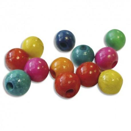 Sachet de 100 perles en bois colorées assorties diamètre 10 mm, trou 2mm
